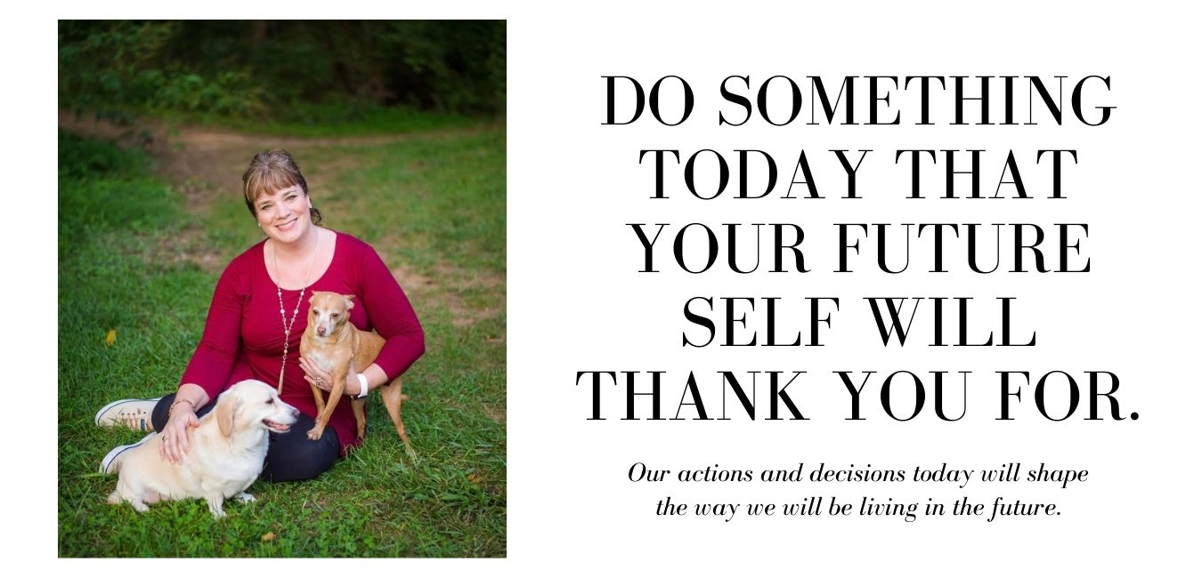 Karen with dogs and inspirational quote